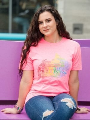 Louisville pride festival shirt on pink Louisville map tag cloud LGBTQ