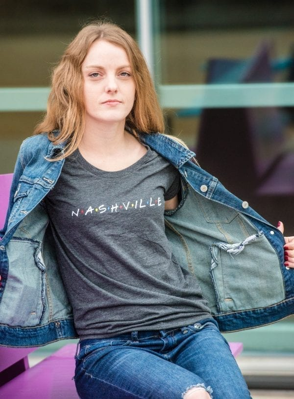 Classy LGBTQ Rainbow Friends font Nashville shirt on heather grey